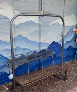 Black powdered metal 3 person ski lift bench