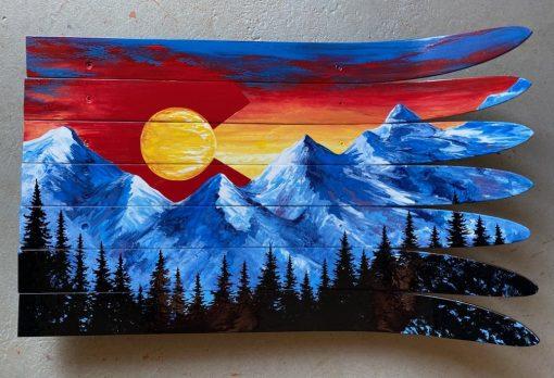 Colorado sunset ski wall art