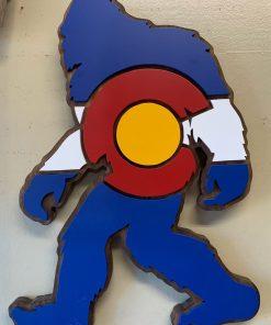 Bigfoot sasquatch wooden hand painted Colorado wall art