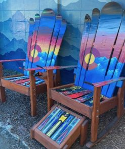 Set of 3 Colorado mountain sunset Adirondack ski chairs and ottoman
