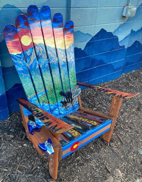 Mom and cub bear Colorado mural Adirondack ski chair