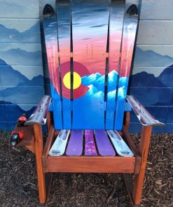 Colorado smoky mountain sunset hybrid Adirondack ski/ snowboard rocking chair