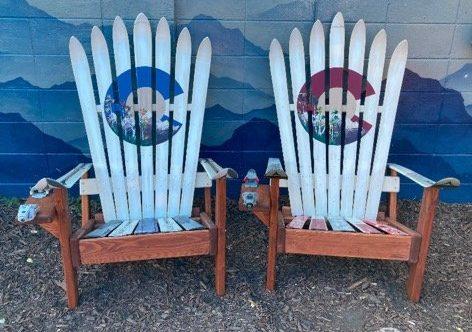 White Colorado Adirondack ski chairs