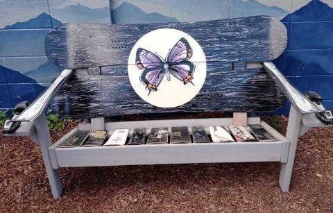 Butterfly mural Adirondack snowboard bench
