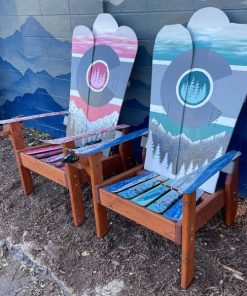 Pink blue colorado Adirondack snowboard chairs