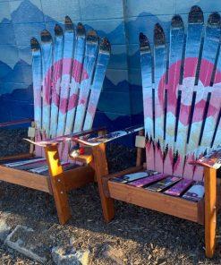 Pink blue colorado Adirondack ski chairs
